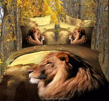 High Quality Bedclothes 3D Lion 4PCS Bedding Set king/Queen 1 PC Bed sheet/1PC Comforter Cover/2 PCS Pillow Covers