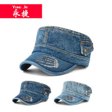 2014 fashion design custom logo hats Wholesale popular lace jean military cap