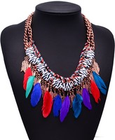 European and American big necklace leaves Caisheng zebra feathers short paragraph clavicle chain modeling