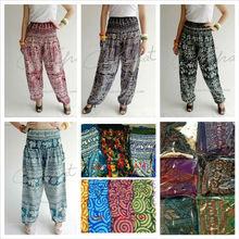 Wholesales Summer Women Aladdin Elasticated Waist Boho Harem Thai Rayon Women Pants