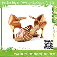 New arrival fashion tan satin color rhinestone women Latin dance shoes