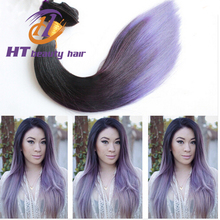 Silky Straight Wave hair extensions Peruvian 1B and Light Purple