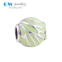 925 Sterling Silver Beads Light Green Enamel Charms European Beads Compatible With Snake Chain Bracelets