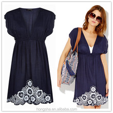 Online clothes shopping western embroidered frocks V neck casual dresses for women HSD6277