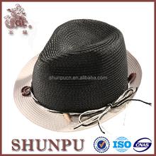 alibaba certificated 100% black blank paper braided fedora hat