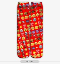 latest 3d digital print emoji red sock wholesale cheap socks