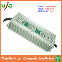 80W ac85~265V 2400ma constant current IP67 waterproof led driver for led light