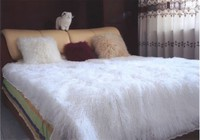 factory direct sale real fur blanket/white soft mongolian tibet lamb fur blanket