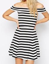 Korean Fashion Style Off the Shoulder Black White Stripes Girls Casual MIni Short Dress
