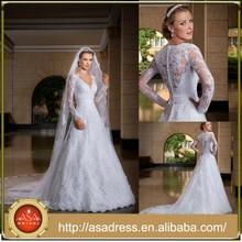 Hot Sale Long Sleeve V Neck Appliqued Saudi Arabian Arabic Muslim Hijab Bridal Wedding Dress