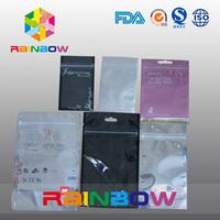 small white foil ear phone zipper/ziplock bag/clear grip sealing plastic bag with hang hole