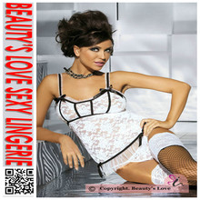 Hot White Charming Lingeire Mesh Halter Babydoll and G-String white Lace PiercedBodydoll