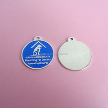metal blue background pet tags, raised logo dog tags metal