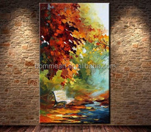 Hand Painted Canvas Oil Paintings Knife Canvas Wall Art Forest Park Bench Modern Abstract Living Room Decoration Picture