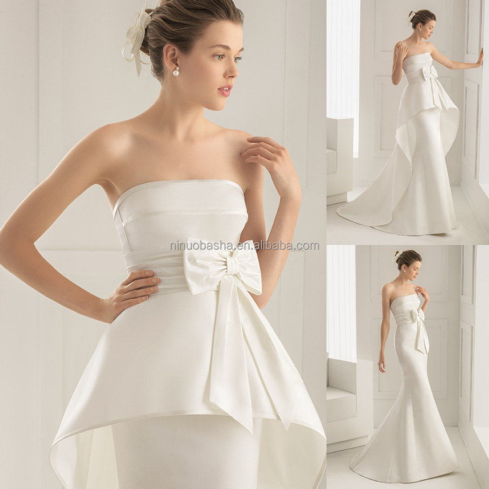 Wholesale 2015 unique silk satin wedding dress and for Detachable train wedding dress