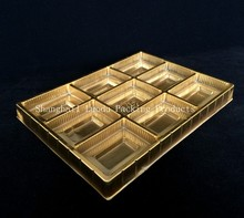 golden blister plastic chocolate/cake box/tray, PVC/PET/PS packing tray
