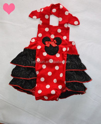 red and white polka dot infants baby rompers with black ruffles girls persnickety outfit