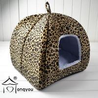 Print Yurt Style Dog Cat Bed Indoor House Folding Pet Tent With Plush Mat Pad