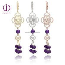 New Design Deluxe Women'S 925 Silver Drop Earrings with bead