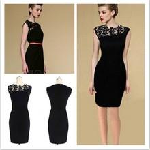 Hot selling black knee-length sleeveless adult lady girls party dress