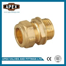 "High Quality Wholesales Price APEX 15mm*1/2"" Equal Shape Male Coupling Brass Compression Pipe Fitting"
