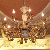 Louis XV 24K Gold Bronze Porcelain Pendant Lighting/8 Bulbs Gilt Brass Pocelian Candle Pendant Lamp/European Style Antique Hotel