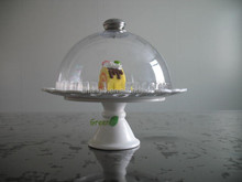 "hot-sale 8"" ceramic cake stand with dome"