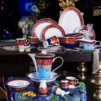 124 Pieces Luxury Fine Bone China Ceramic Dinnerware