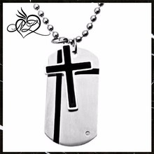 Stainless Steel Cross Two Piece Dog Tag Pendant