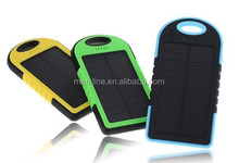 2015 hot sale universal travel waterproof emergency 5000mah solar power bank for mobile phone