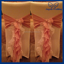 CH010D Nice cheap chiffon and organza dusty pink and ivory ruffled cheap universal wedding chair covers with buckle
