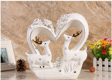 chaozhou art craft double deer decoration ceramic with heart for wedding gift
