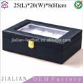Personalizado faux capa de couro flip relógio titular caixa de 10 slots com vidro/janela de acrílico