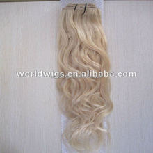 light blond full head clip human hair extension italian culry wave