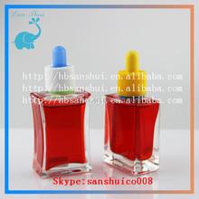 new design square 30ml glass bottles rectangle design glass bottle for nail polish