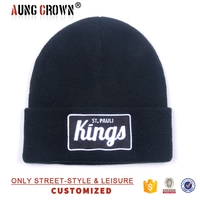 custom adult winter knitted beanie caps with 3D embroidery