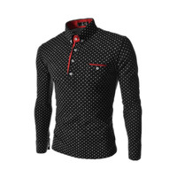 Hot selling Polka Dot hit color buckle collar casual long-sleeved T shirt for men,3colors,4size