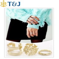 >> 3pcs/lot Fashion Vintage Punk Style Metal Gold/Silver Plated Leaf Above Knuckle Hollow Out Finger Set Ring/