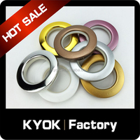 KYOK hot sale good price platic curtain rings, big golden curtain eyelet ring, colorful platic curtain grommet hot selling