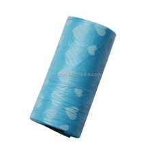 Heart shaped printing sky blue wholesale eco friendly pet waste roll bag