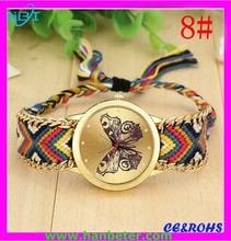 Colorful knitted weave butterfly Woven wristwatch with japan movt