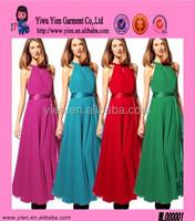 Candy Color Sleeveless Evening Dress Belt Chiffon Maxi Dresses
