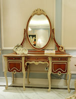 Classical bedroom dressing table with drawer and oval mirror