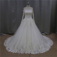 Attractive A-Line Scoop Neck wedding gown decoration