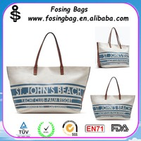 2015 fashional canvas beach bag with leather handles