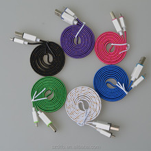 Popular Design Fabric Bradied Shiny Flat Gold line micro usb cable made in China Color 2 in 1 micro usb cable with CE&RoHS&FCC
