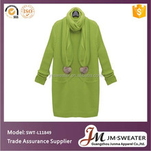 Camisola das mulheres tecido de malha de moda bordado vestido longo