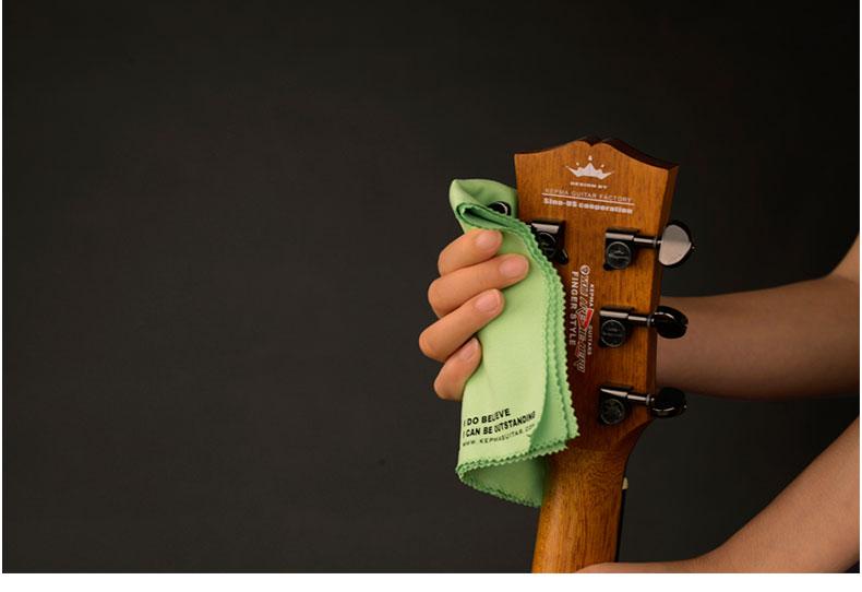 Logotipo impresso guitarra Instrumento musical de Madeira Polimento Pano de Limpeza pano de limpeza