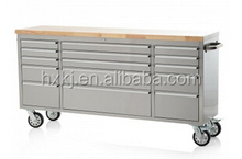72 inch tool box roller cabinet with caster / 15 drawers / rubber wood work top