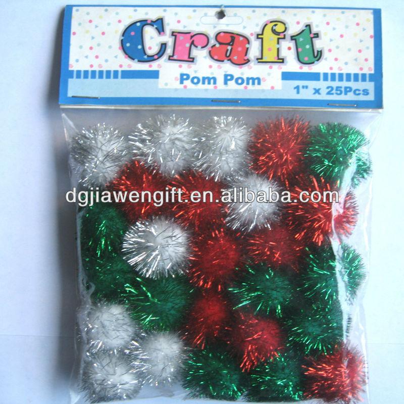 natal decoração do partido metálicos glitter pompons